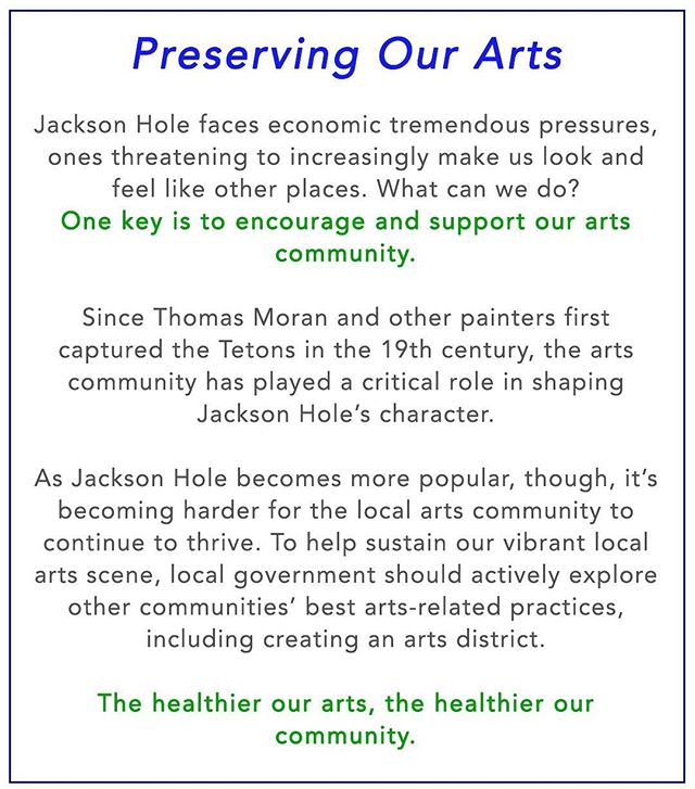 The healthier the arts, the healthier our community. #SustainWhatMatters #js4jh #wyomingart