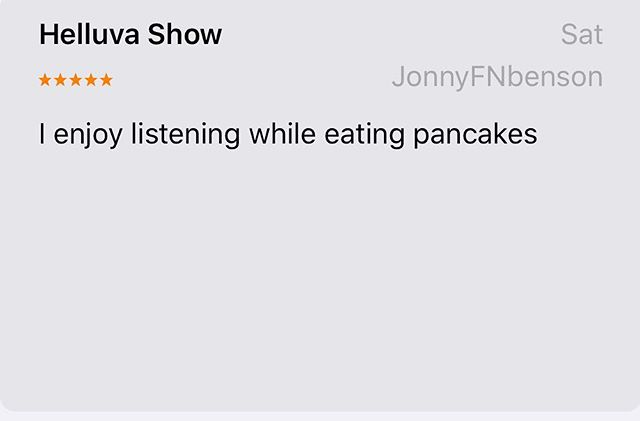 New aesthetic 😂  Thanks Jonny! 🥞 . . . #podcast  #podreview #comedy #pcss #mogulmoves #rate #review #subscribe #popculture #pancakes