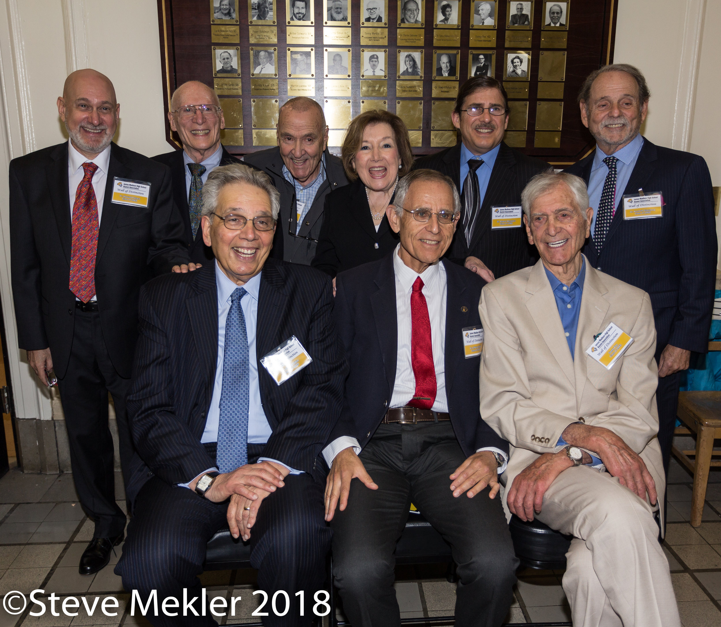 2018 Honorees    Front: Richard Gitlin, Jeffrey Gordon, Sonny Fox Back: Howard Pollack, Chuck Debrovner, Leslie Lebow, Sylvia Kleiman Fields, Robert Meadows, Kenneth Glassberg
