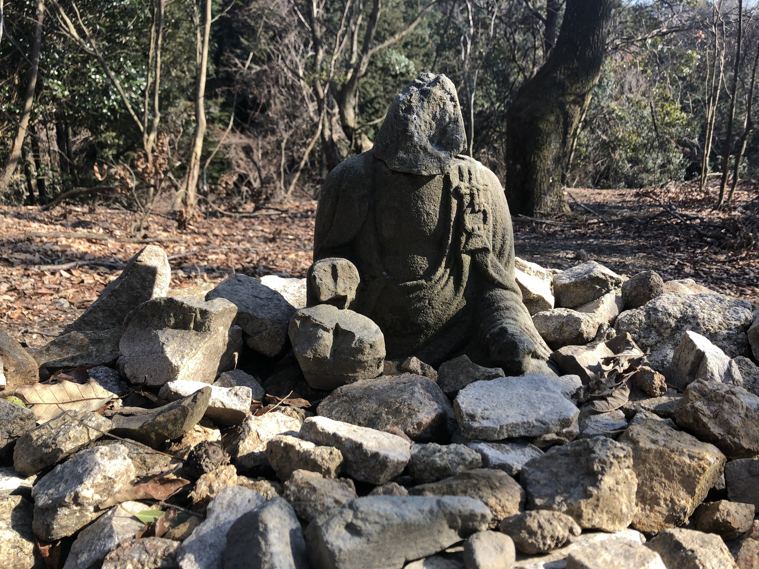 A small statue on the Kirarazaka Trail between Mt. Hiei and the city of Kyoto.