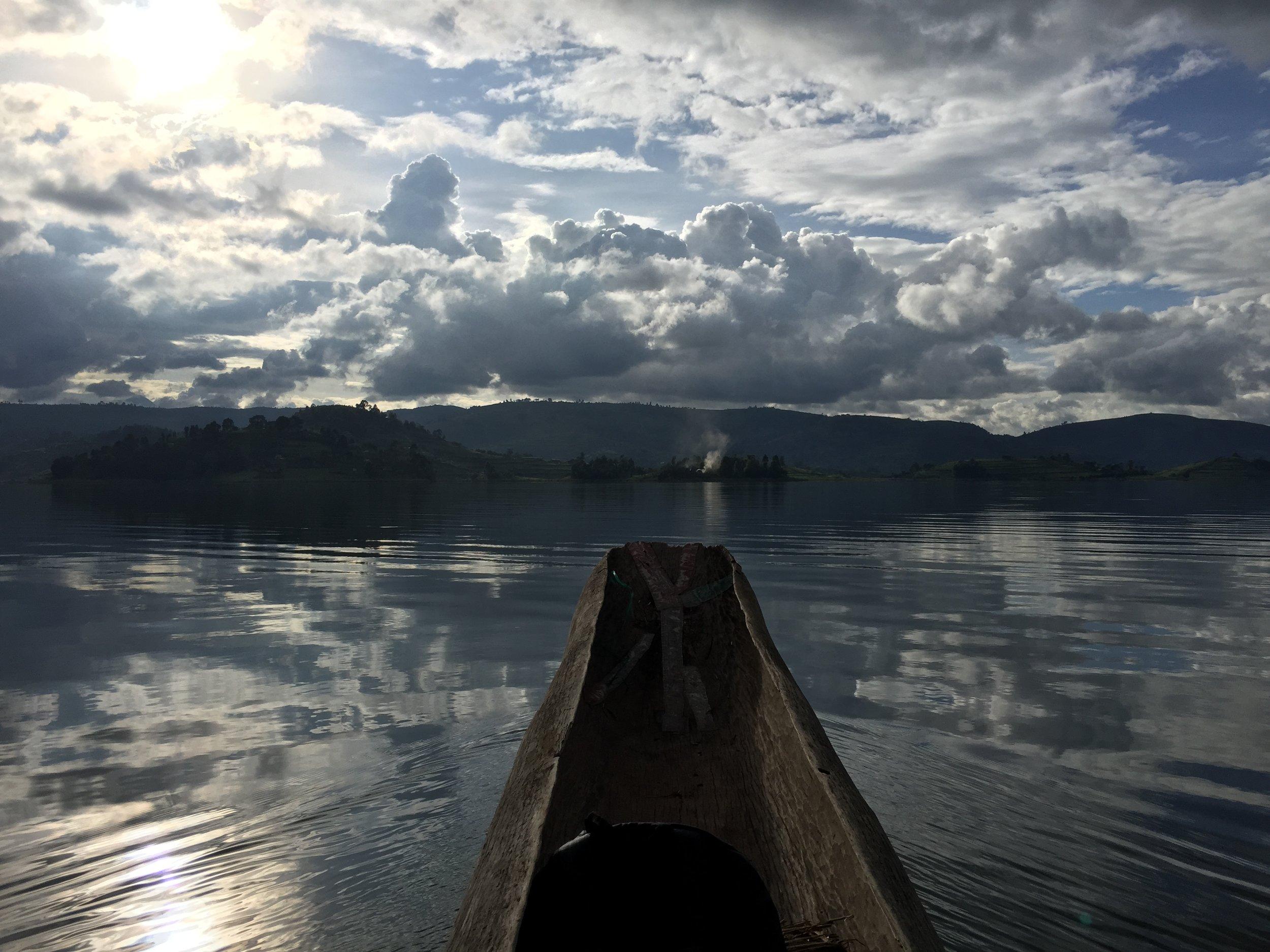 American in the boat in Uganda