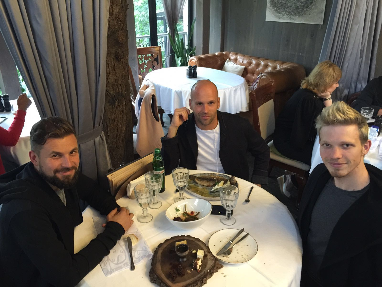 Peter Santenello, John Uke and their friend in Kyiv, Ukraine