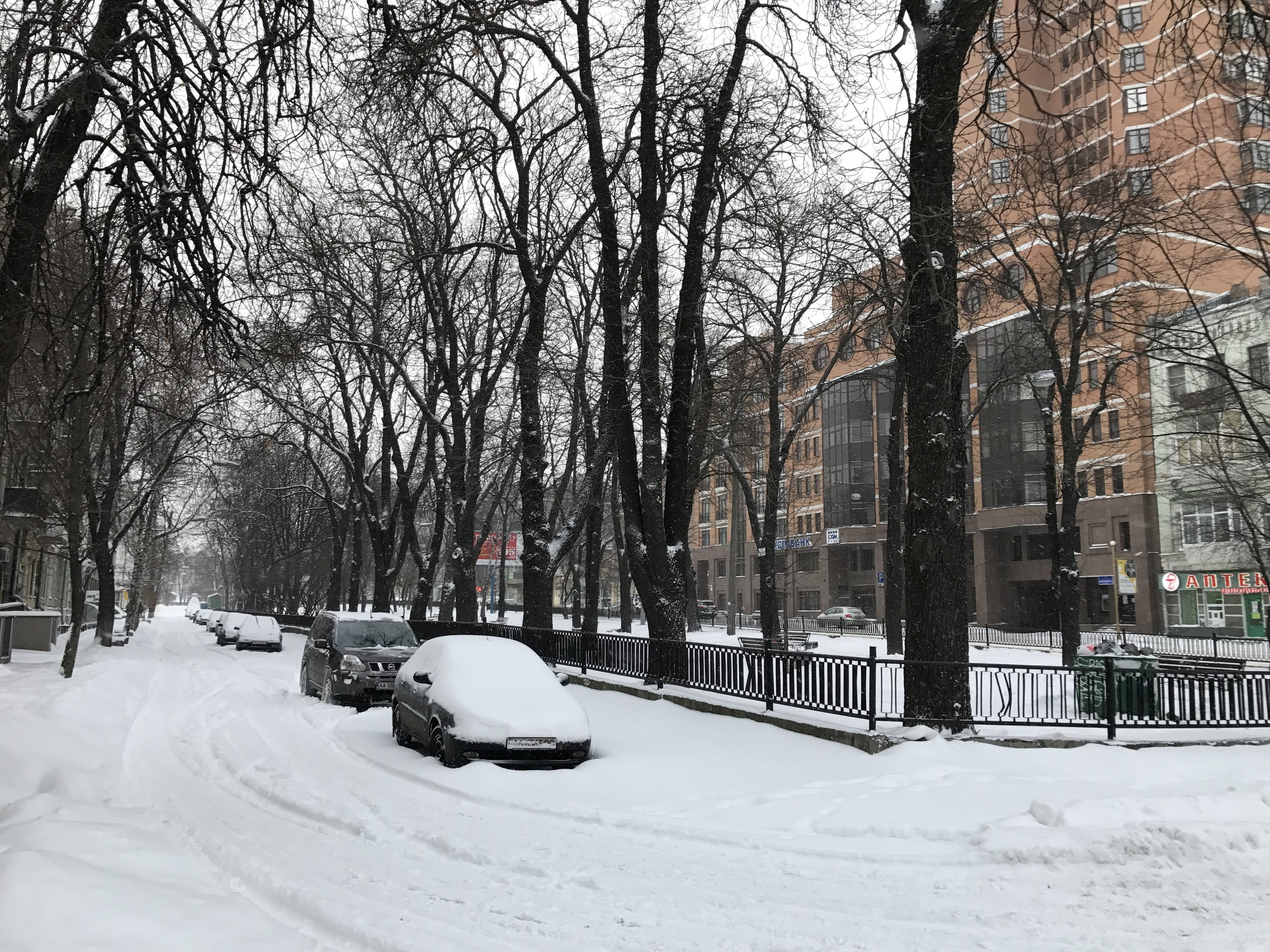 Snowy street in Kyiv, Ukraine