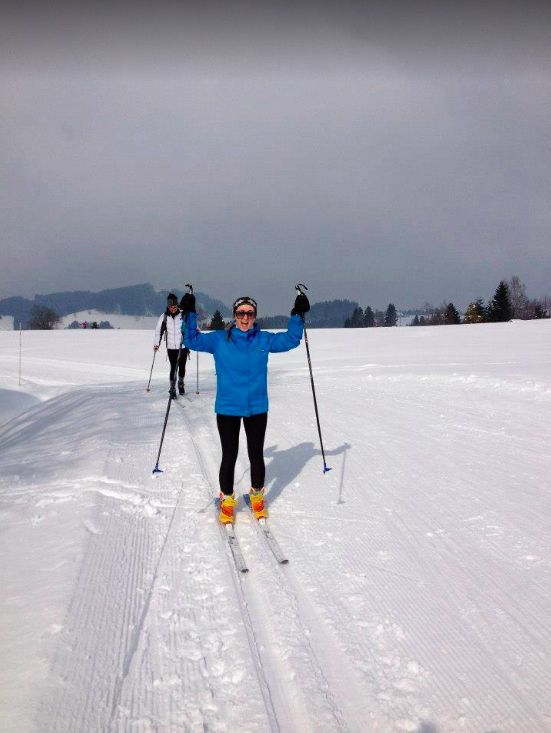 Young woman is skiing