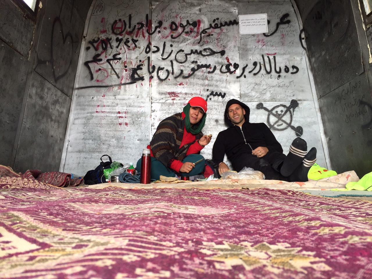 Peter Santenello and his guide in Iran