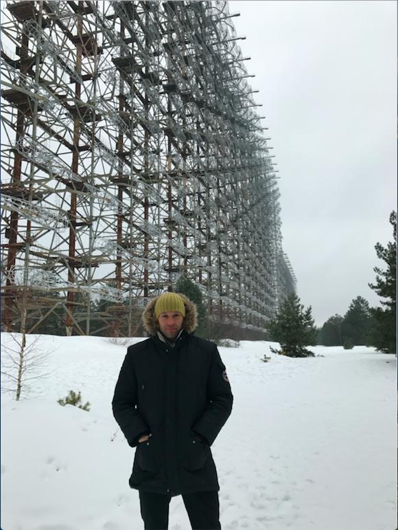 Peter Santenello near Duga Radar in Chernobyl, Ukraine