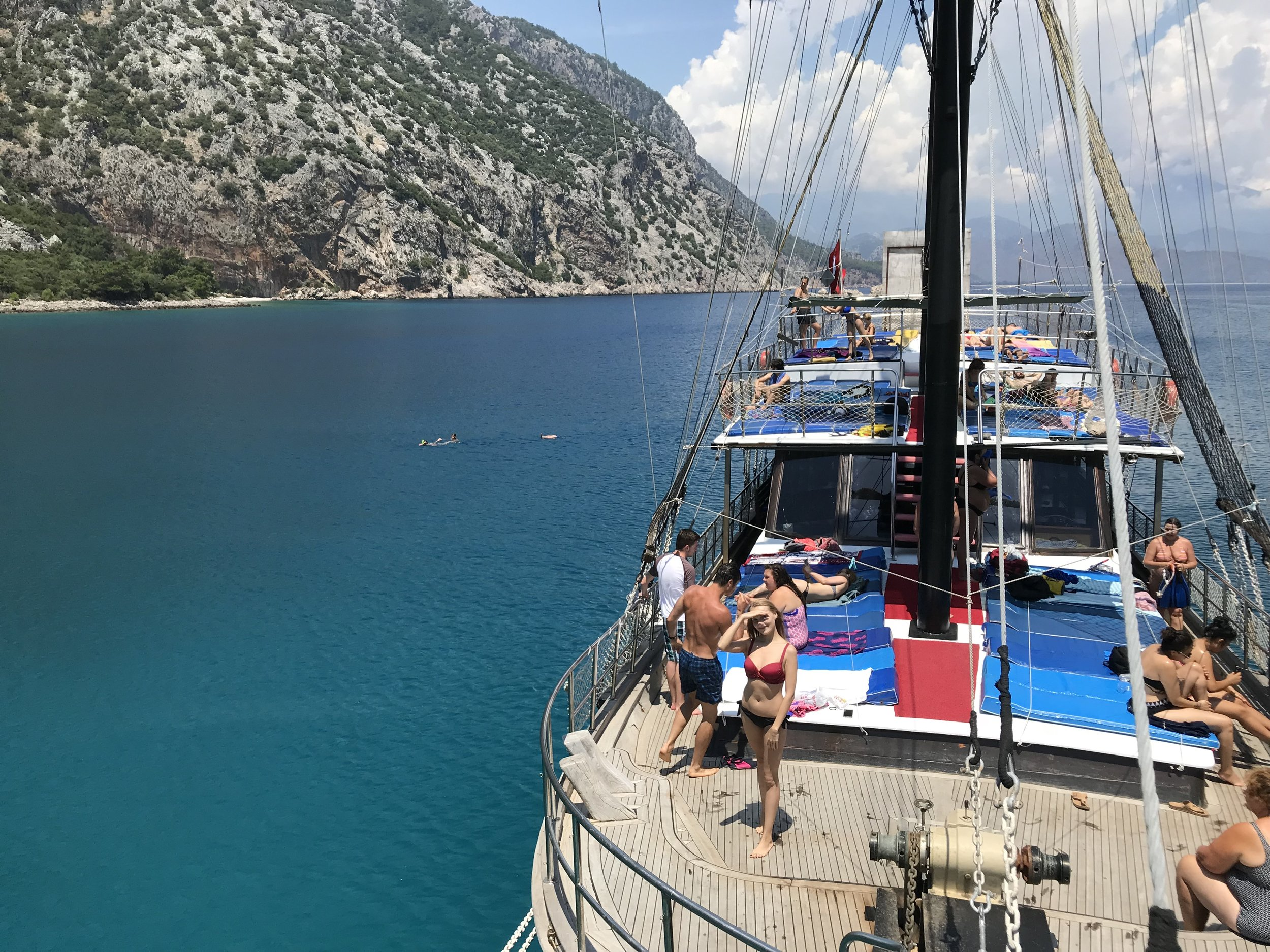 Blue water and people on boat in Turkey