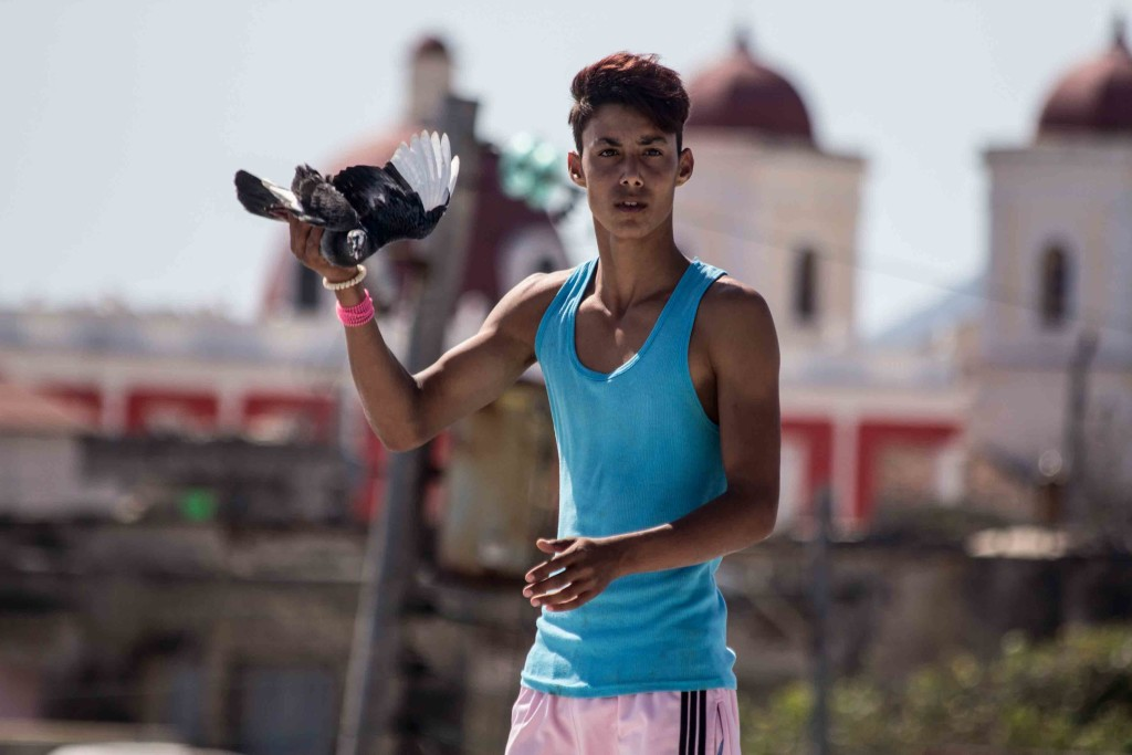 Young boy with a bird in Cuba
