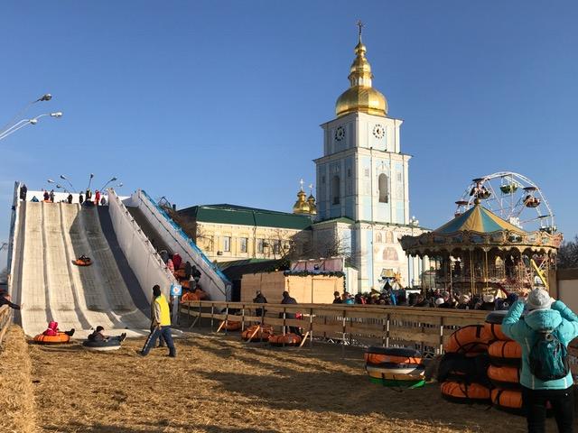 The church and playground in Kyiv, Ukraine