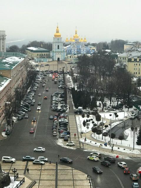 Church and road in Kyiv, Ukraine