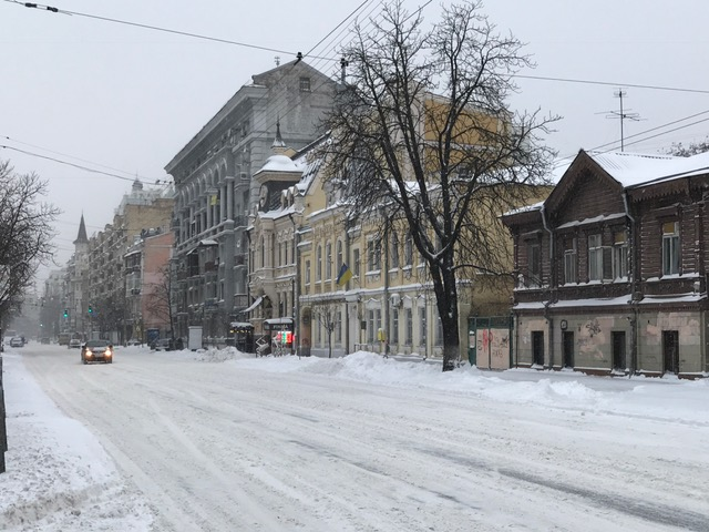 Streets in snow in Kyiv, Ukraine