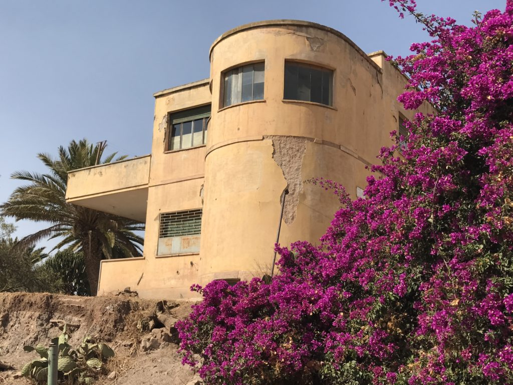 Beautiful building and flowers in Asmara, Eritrea