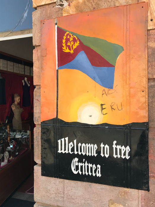 Art 'Welcome to free Eritrea' in Eritrea