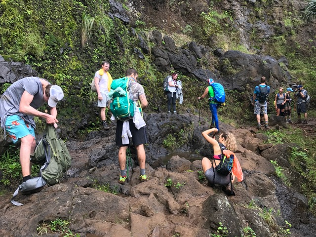 Snack break of American tourists in Kauai