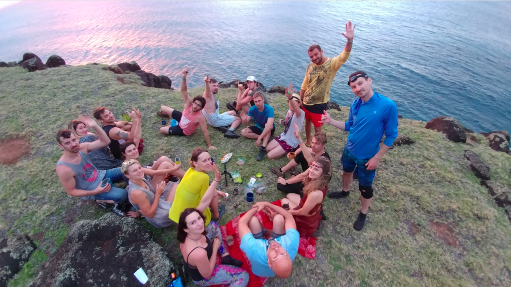 A group of American tourists in Kauai