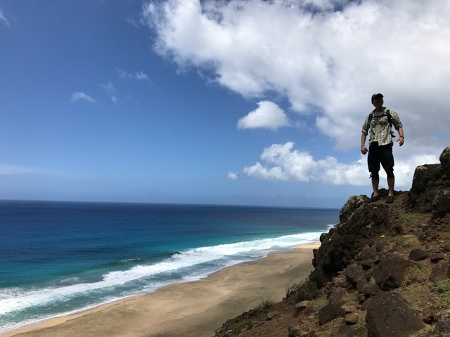 One man near the water in Kauai