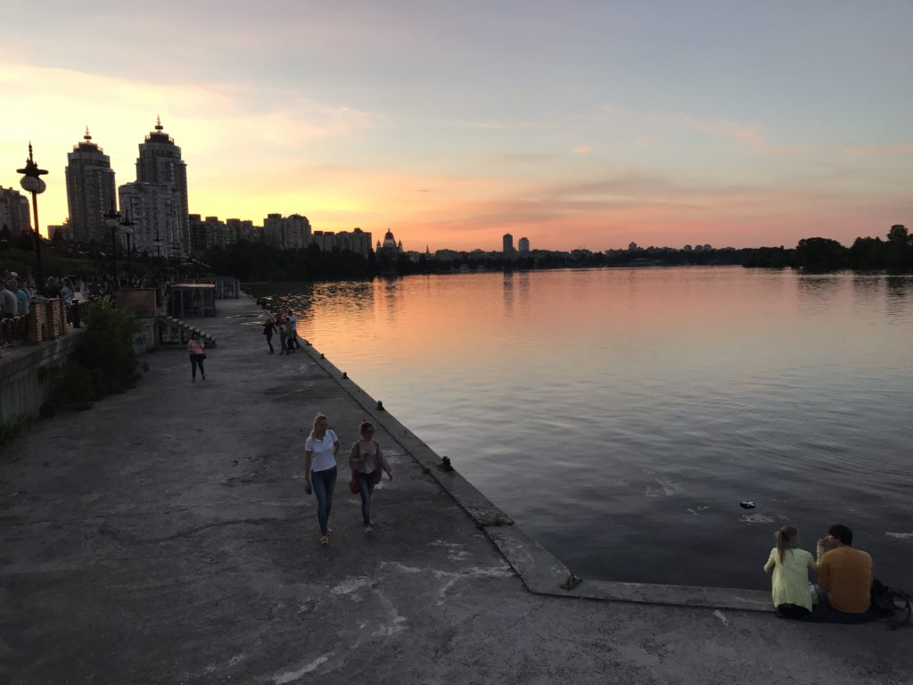 Dnipro riever in the evening (Kyiv, Ukraine)
