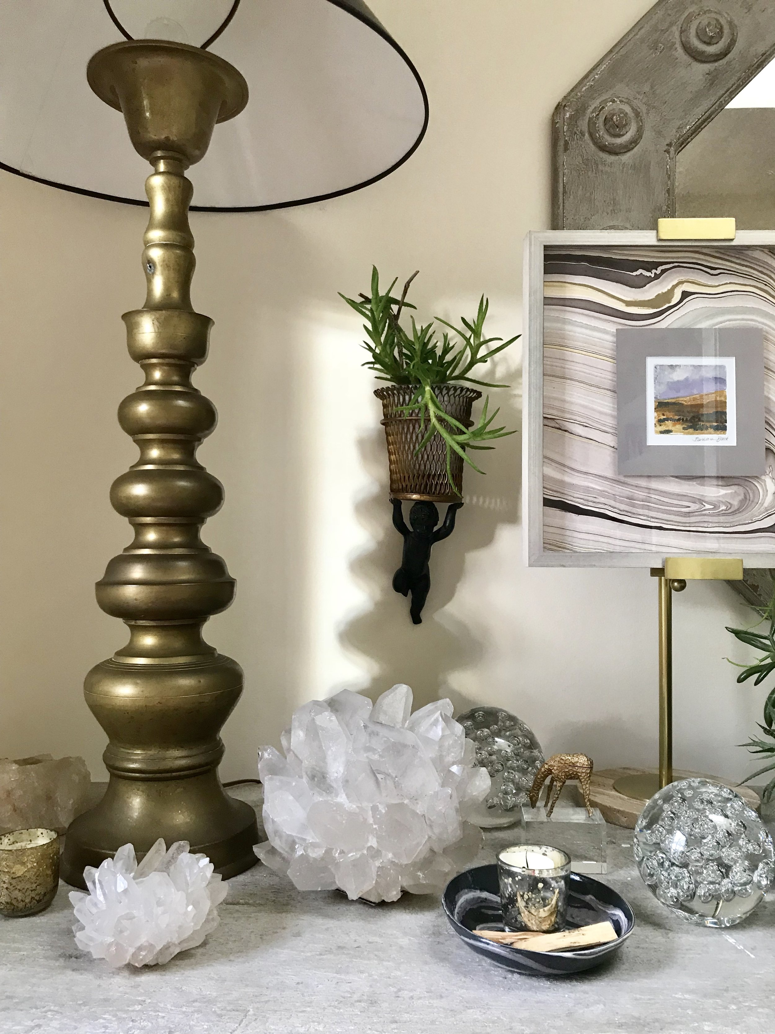 SCW Interiors Life Hacks Blog Post : The Healing Powers of Crystals. This is a special space in my home packed with all of my favorite things that inspire me.