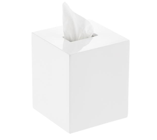 The Container Store's   White Lacquer Tissue Box Cover   also comes in a rectangular form.