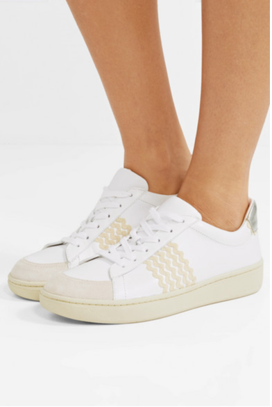 Loeffler Randall - Elliot Rickrack-Trimmed Leather and Suede Sneakers