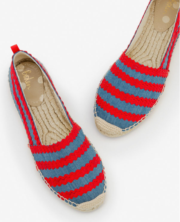 Boden - Violette Espadrilles: Chambray and Red Pop Ric Rac