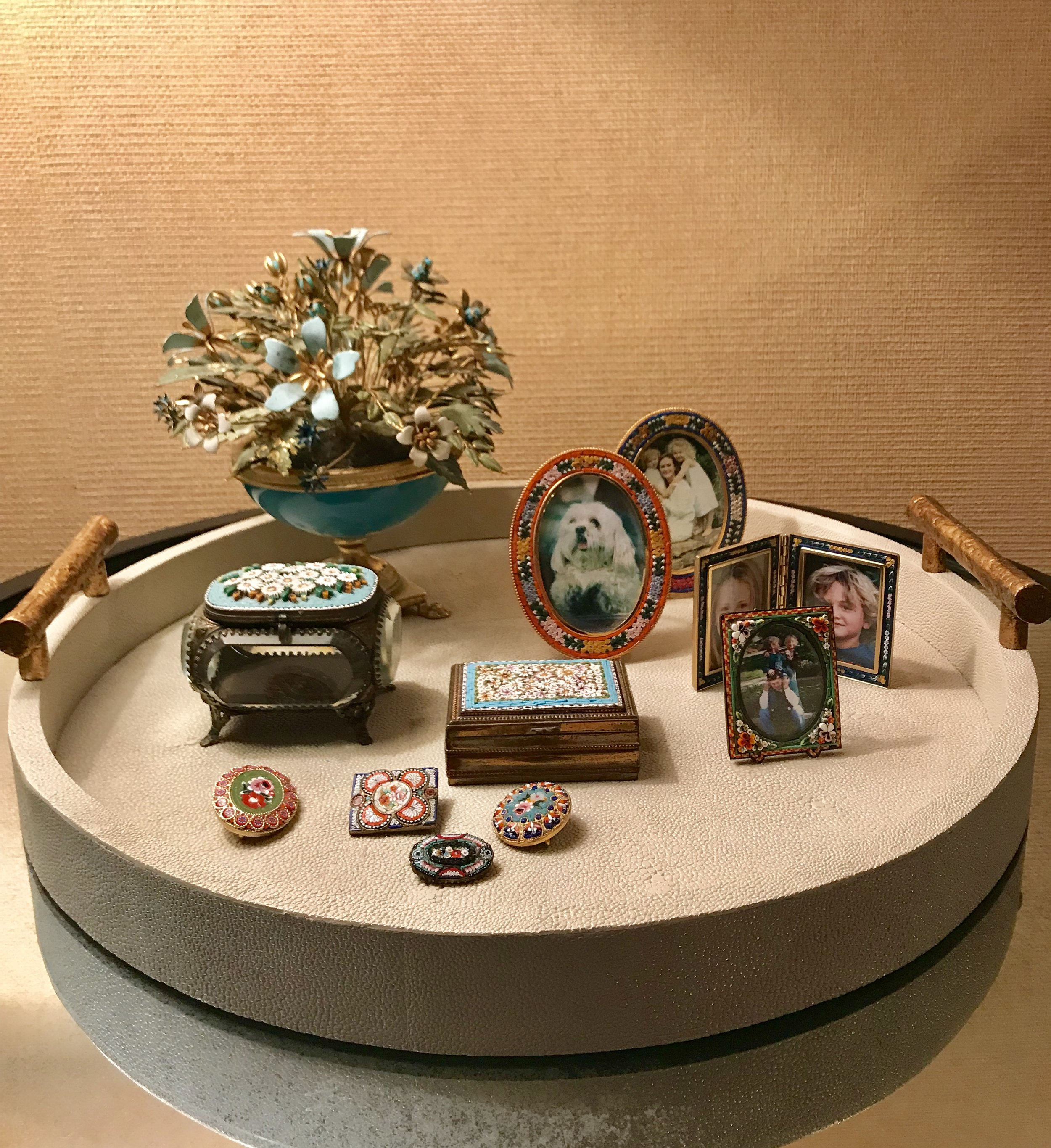 A Bedside Table of Mine featuring Micromosaic Buttons & Frames