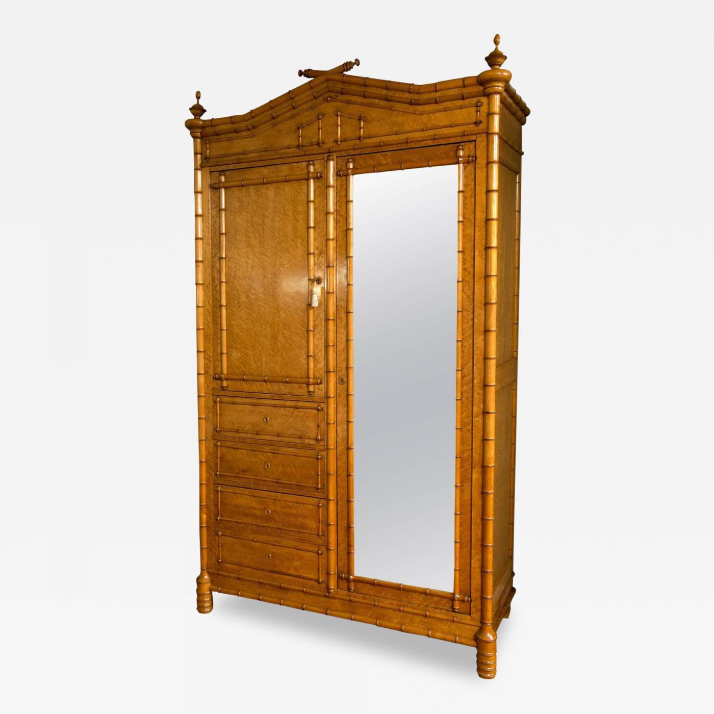 R.J. Horner & Co. - Aesthetic Movement Maple Faux Bamboo Armoire