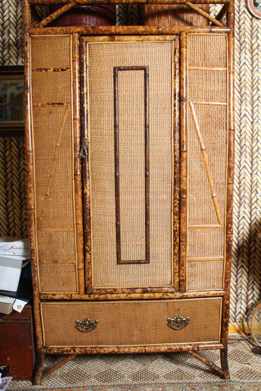 1stDibs - 20th Century English Bamboo Armoire with Rattan