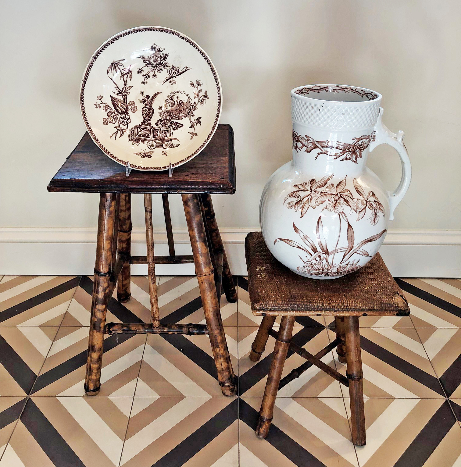 Two more tiny, antique bamboo tables I scored last week with pieces of Transferware available at our shop.