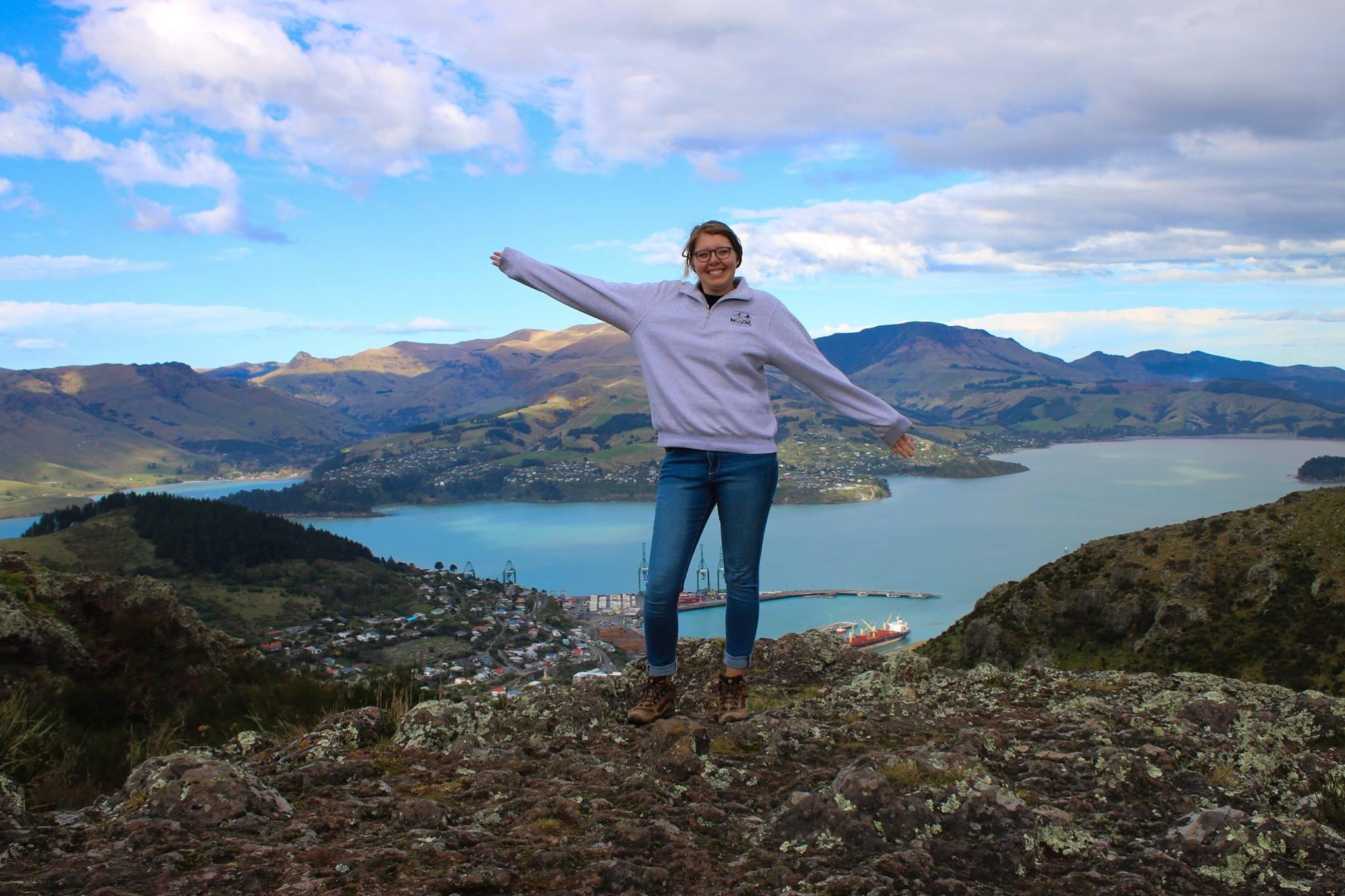 Jacqueline on a hiking trail above Lyttelton, New Zealand.