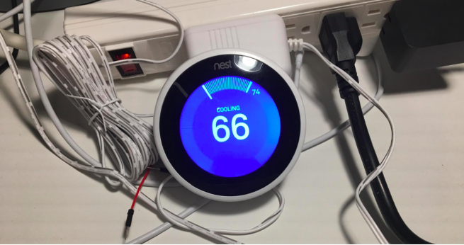 [Hololens + Nest Thermo: Nest thermostat that is used for this project and connected to 24V external power adaptor]