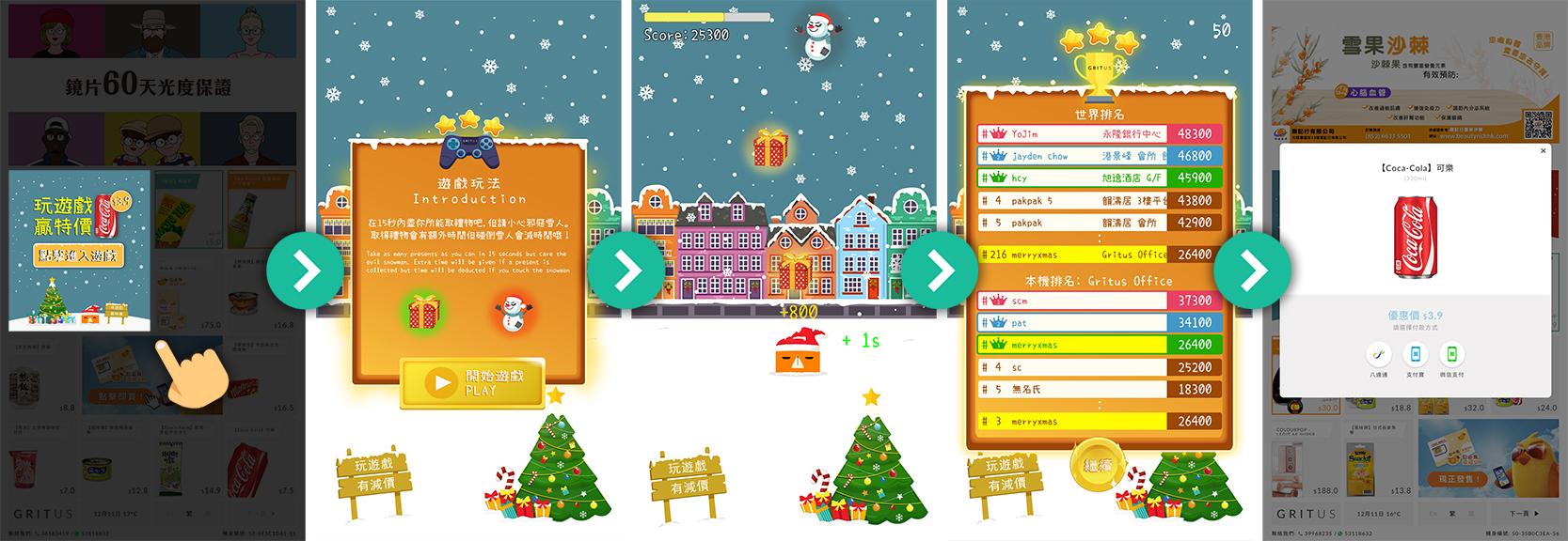 2018 年 12 月,Gritus 在智能售賣機上推出聖誕主題的限定推廣,顧客可在機上點擊方格進行接禮物遊戲,完成遊戲後即可以優惠價購買產品。