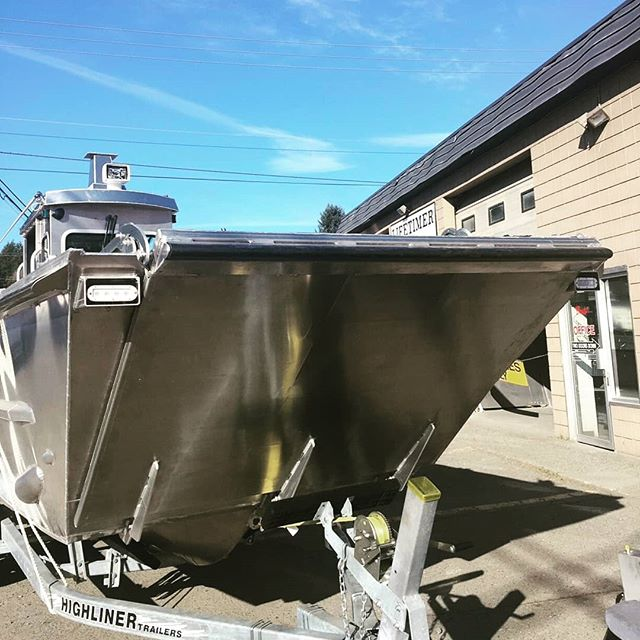 One of our badass landing crafts on it's way out the door to another satisfied customer. Our crew did a great job on this, plenty of challenging custom work on this beauty.  #Lifetimer #lifetimerboats #landingcraft #boatlife #workboat #aluminum #dday #pacificnorthwest #atv #dirtbike #researchboat