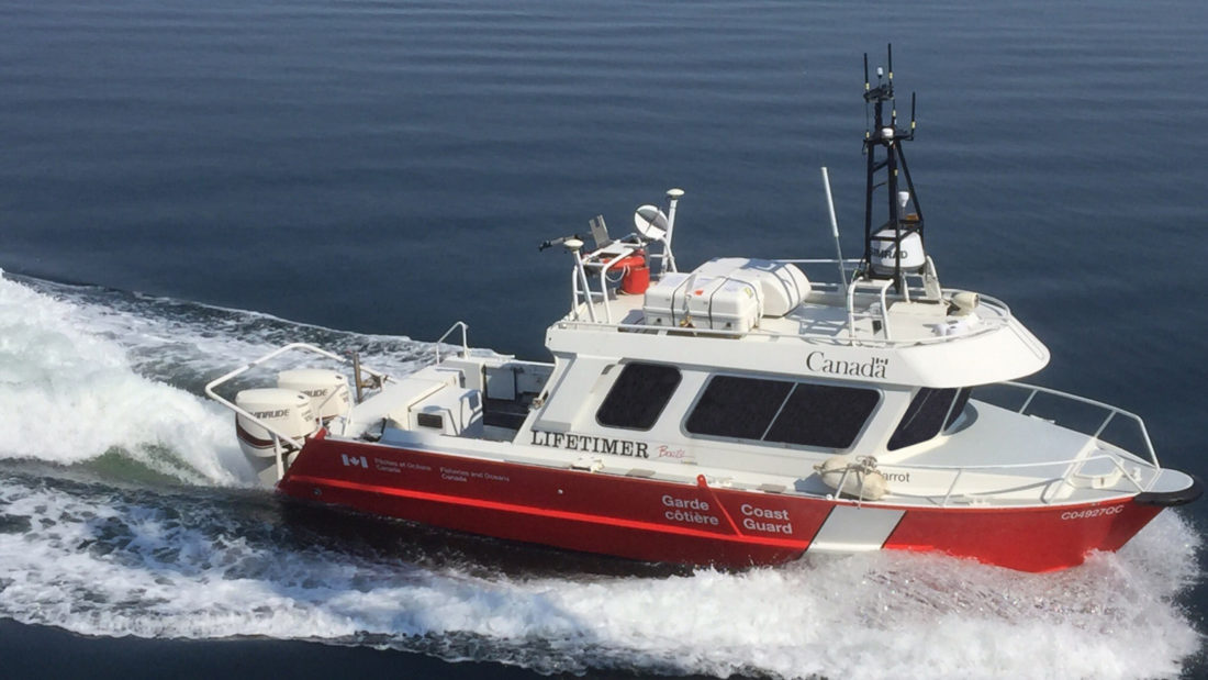 Garrot, a Canadian Coast Guard's launch dedicated to hydrographic survey operations of the Canadian Hydrographic Service recently converted to unmanned mode by ASV Global.  Image credit: Fisheries and Oceans Canada.