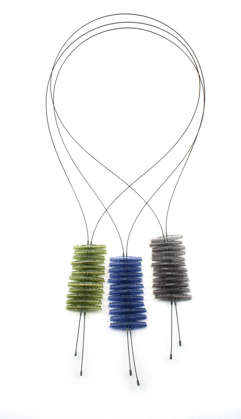 Doris Jurzak, Knowledge is Power I, 2011, hand-dyed PVC, nylon-coated stainless steel wire, 925 silver