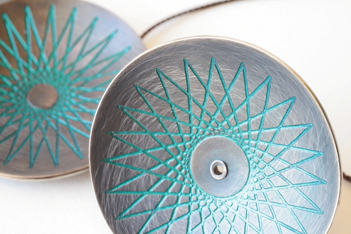 Doris Jurzak, Symmography pendant and ring, 2012, 925 silver, nail polish, silk cord
