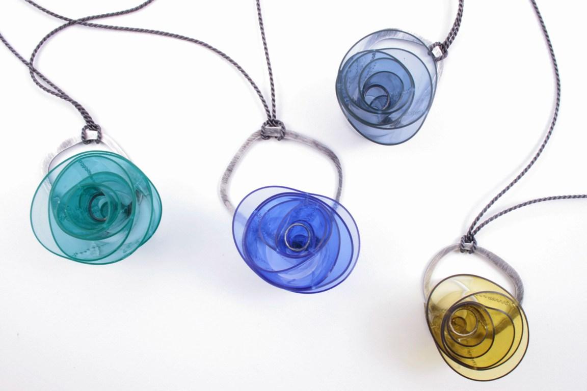 Doris Jurzak, Valentine pendants, 2012, 925 silver, hand-dyed PVC and silk cord
