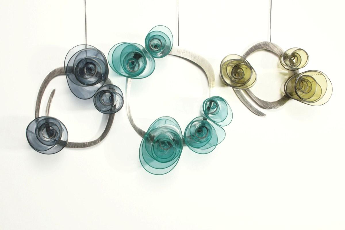 Doris Jurzak, Valentine brooches, 2011, 925 silver, hand-dyed PVC