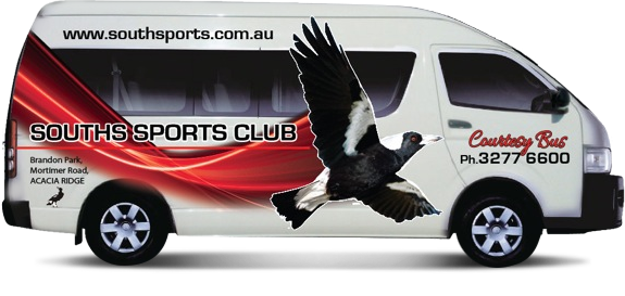 The Souths Sports Club Courtesy Bus is available for Members to use by booking on (07) 3277 6600