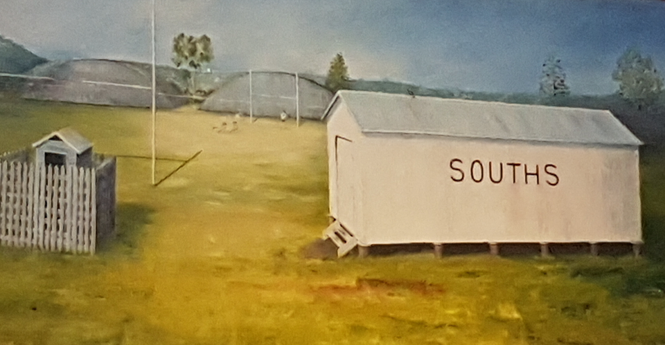 """""""The Beginning"""" A painting of the first buildings on Brandon Park, Acacia Ridge in 1970 by artist D. Sunners (1984)."""
