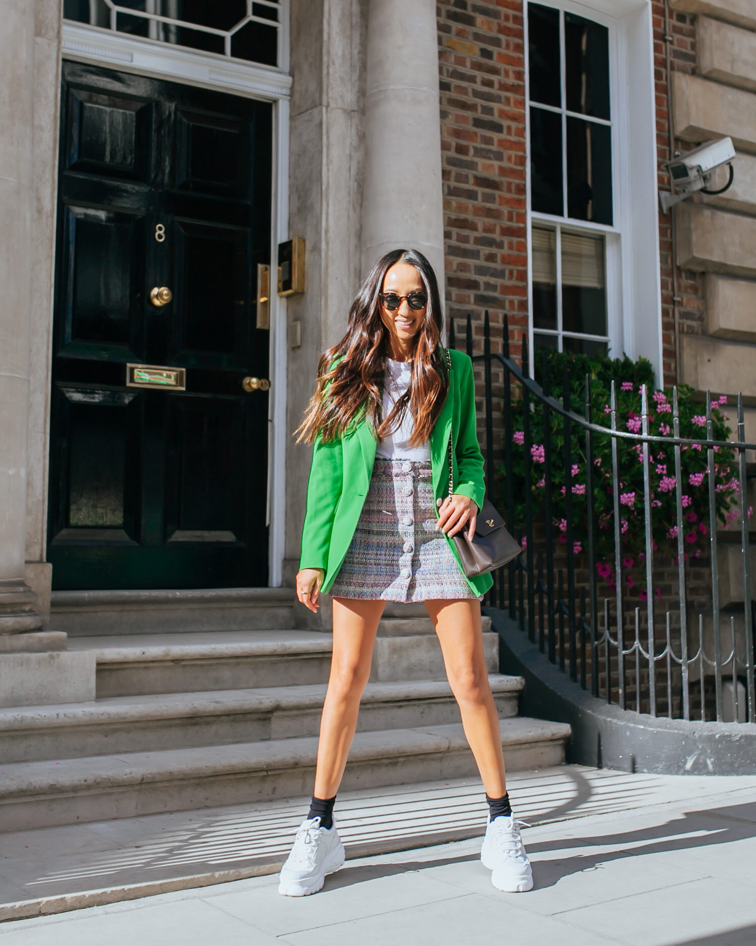 how am i incorporating green into my outfits? - As the return of tailoring is the single biggest trend right now, I opted for a blazer.The look of suiting has become modern and cool rather than corporate and therefore is easy to style either as an entire pant suit or simply pair a blazer back to a white tee and bottoms of your choice.