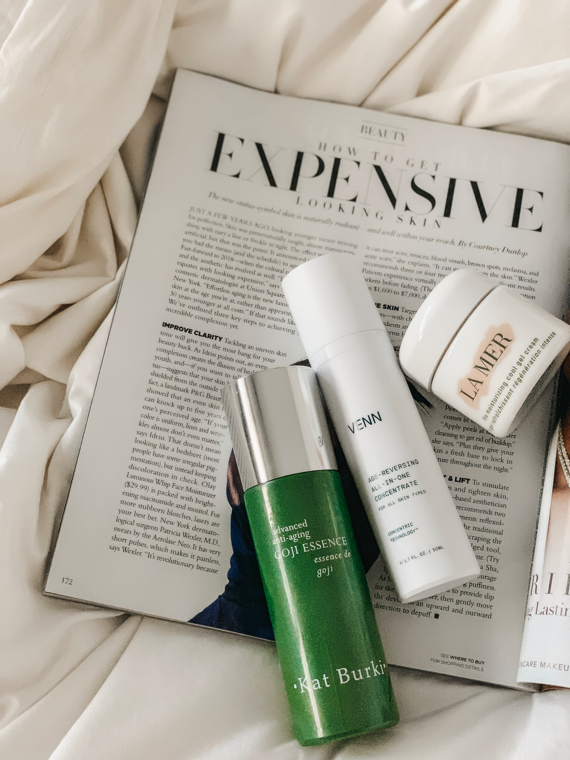 what are my thoughts on getting expensive looking skin? - Use of anti-aging creams & products that fight age and leave your skin refreshed and youthful (regardless of your age).