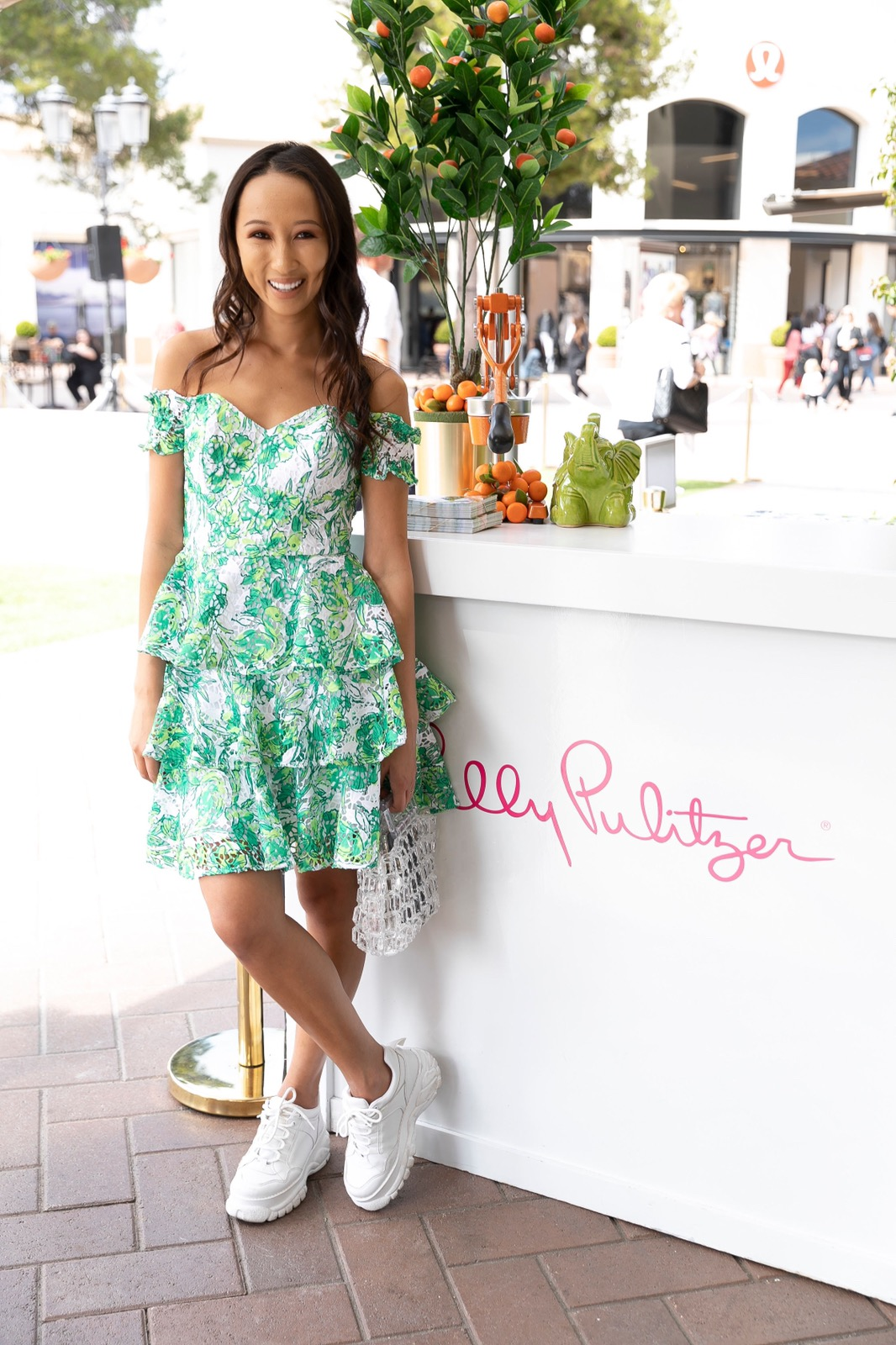 Of course had to come celebrate in my FaVourite lilly pulitzer dress… - The latest Cicely Off the Shoulder Dress// Leaf-print lace brings signature tropical vibes to a tiered fit-and-flare dress with a flirty off-the-shoulder sweetheart neckline.