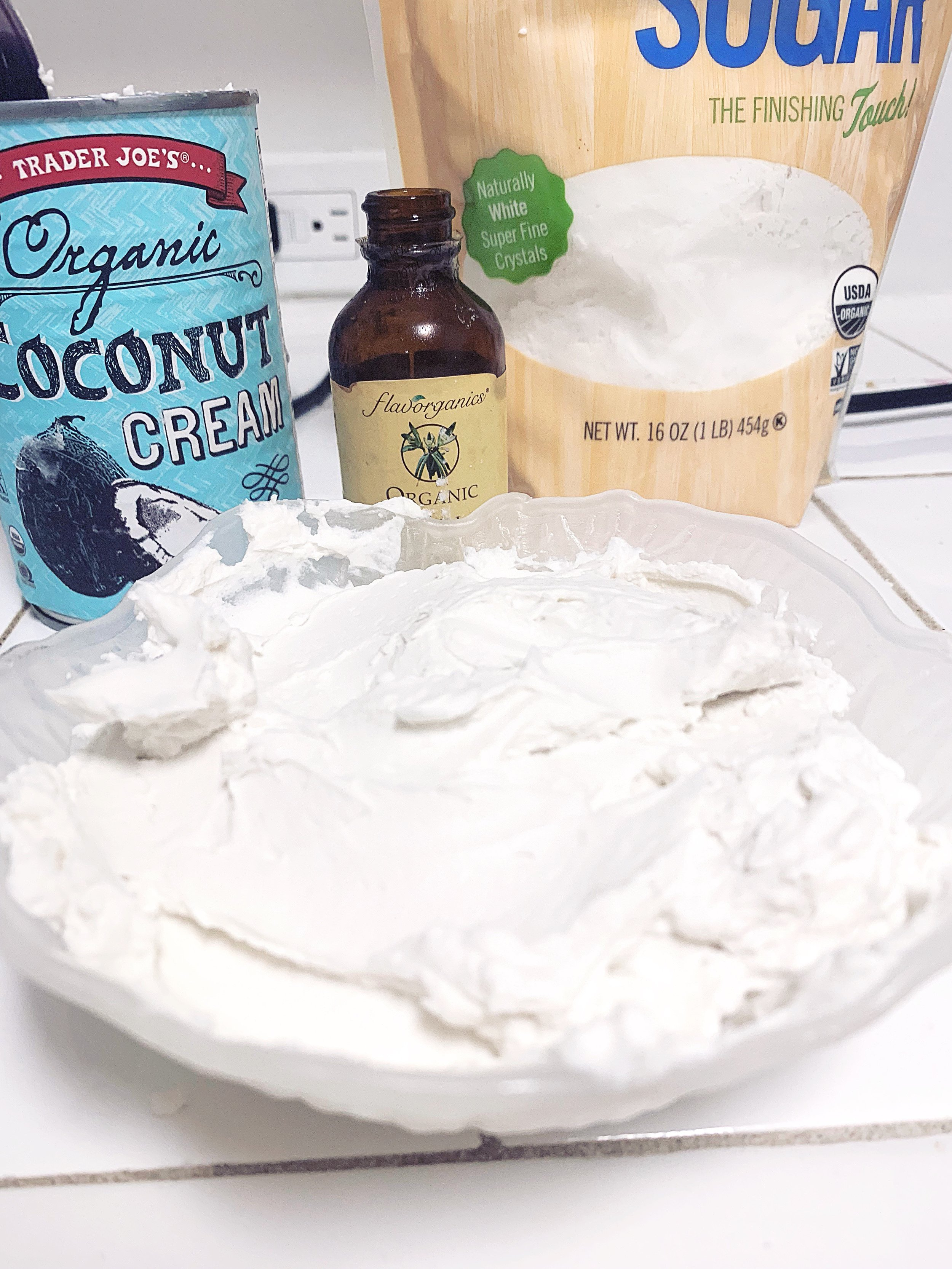 Whipped cream with all of the ingredients