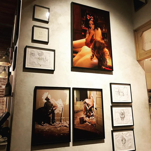 Art on the walls of a restaurant inside an art gallery in the Arts District. — #art #artsdistrict #artsdistrictla #dtla #losangeles #manuela
