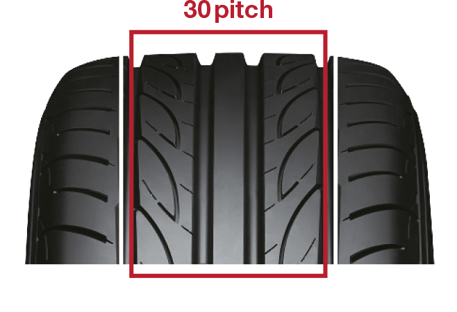 Increased tread pattern stiffness realizes a more direct feeling to handling. Optimized ground contact area. Reduces tyre noise, and enhances ride quietness.