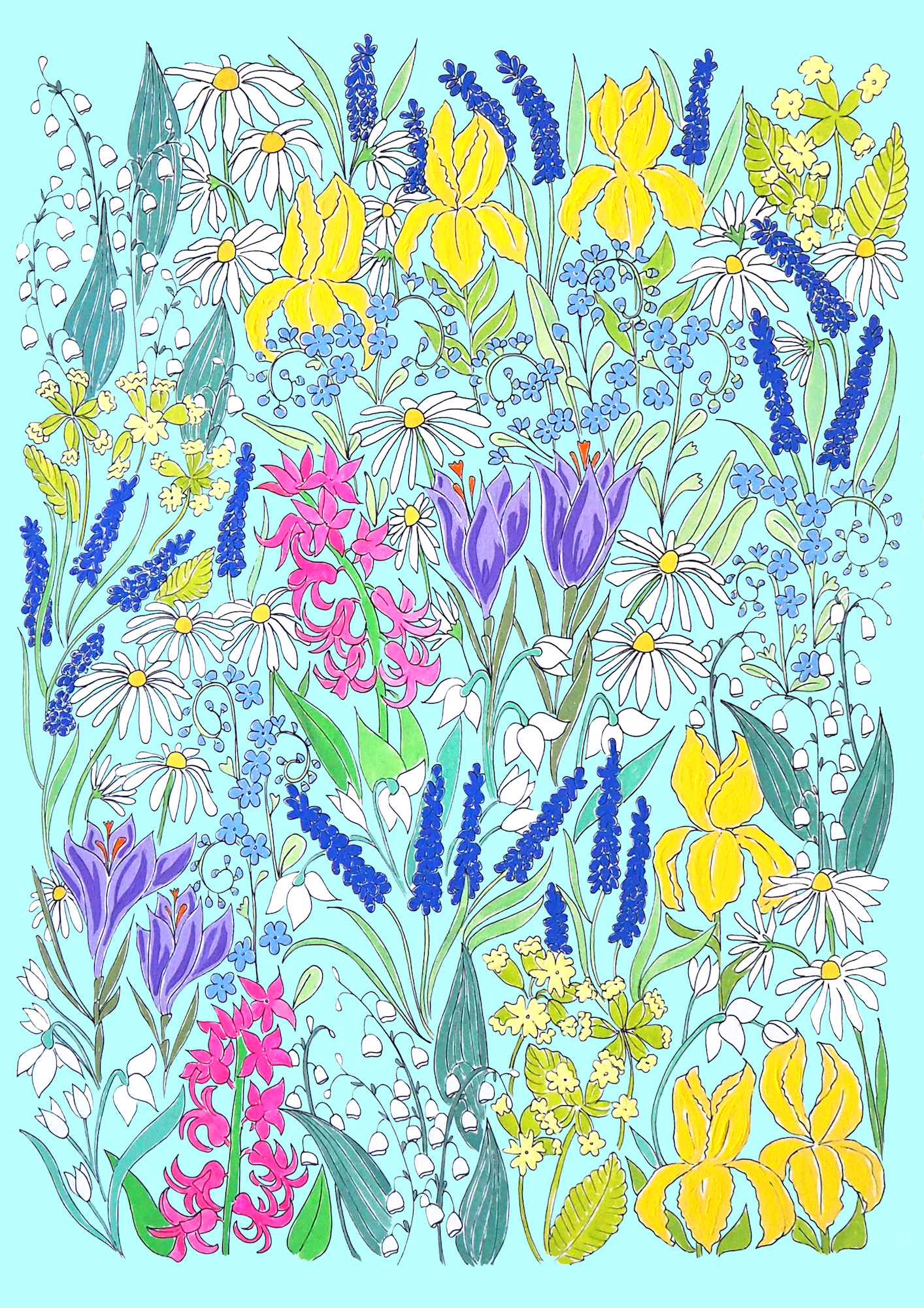 Spring flowers background turquoise .jpg