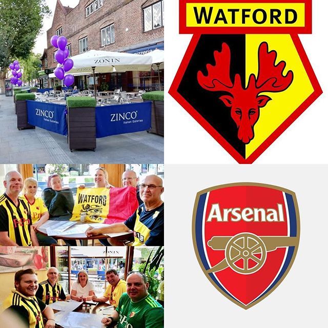 Watford FC take on Arsenal FC at Vicarage Road Stadium Watford this coming Monday night. Come and see us at Zinco's on the Parade and enjoy a Delicious, Authentic Italian Meal. Buon Appetito!! #watfordfc #wfc #vicarageroad #arsenalfc #afc #thehornets #thegunners #premierleague #football #soccer #sports #mondaynightfootball #watford #arsenal #london #hertfordshire #italianrestaurant #pizzeria #goodfood #instagood