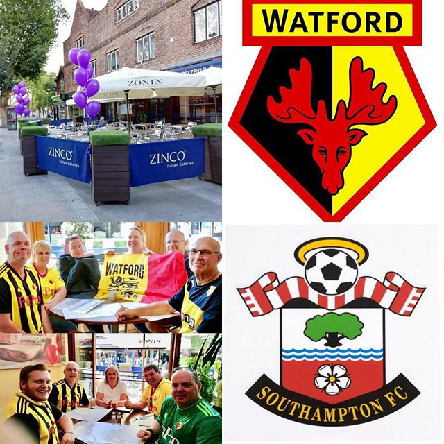 Watford FC take on Southampton FC tomorrow night at Vicarage Road Stadium Watford. Come and see us Zinco's on The Parade and enjoy a delicious truly authentic Italian meal. Buon Appetito!! #watford #southampton #wfc #sfc #thehornets #thesaints #watfordfc #southamptonfc #premierleague #vicarageroad #football #soccer #sports #footballfans #italianrestaurant #pizzeria #authentic #familyrun #goodfood #hertfordshire #london #goodfood