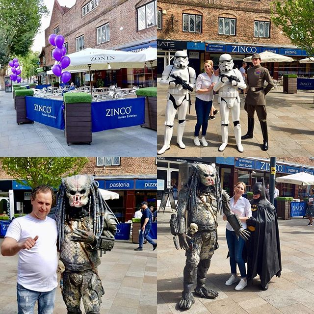 The Empire and Predator descended on our lovely Zinco Team!!! Lots going on up and down The Parade Watford most weekends! Check out Watford for you's web site for up and coming activities!!! #watford #wfc #watfordforyou #starwars #predator #batman #movies #italianrestaurant #pizzeria #weekend #fun #whatson #watfordweekender #hertfordshire #gadecarpark #london